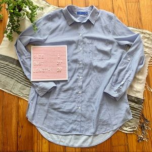 Apt. 9 Striped Button Down Blouse in Blue & White